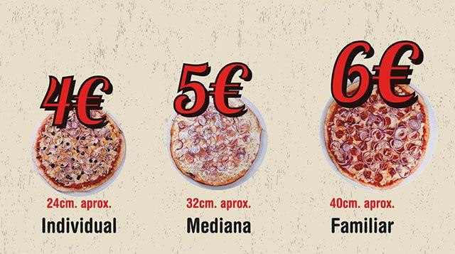 Nuestras pizzas y tamaños de martes a domingo (Solo local y recoger)